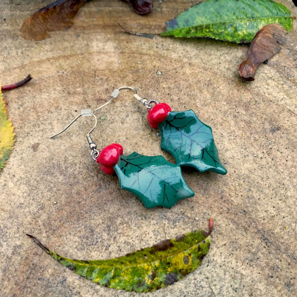 holly earrings - handmade pottery by Ink & Clay