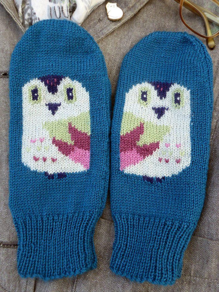 knitted fingerless owl gloves by Dreamtime Treasure