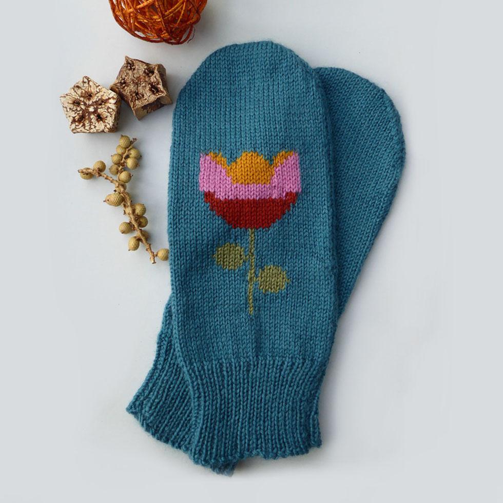 knitted fingerless tulip gloves by Dreamtime Treasure