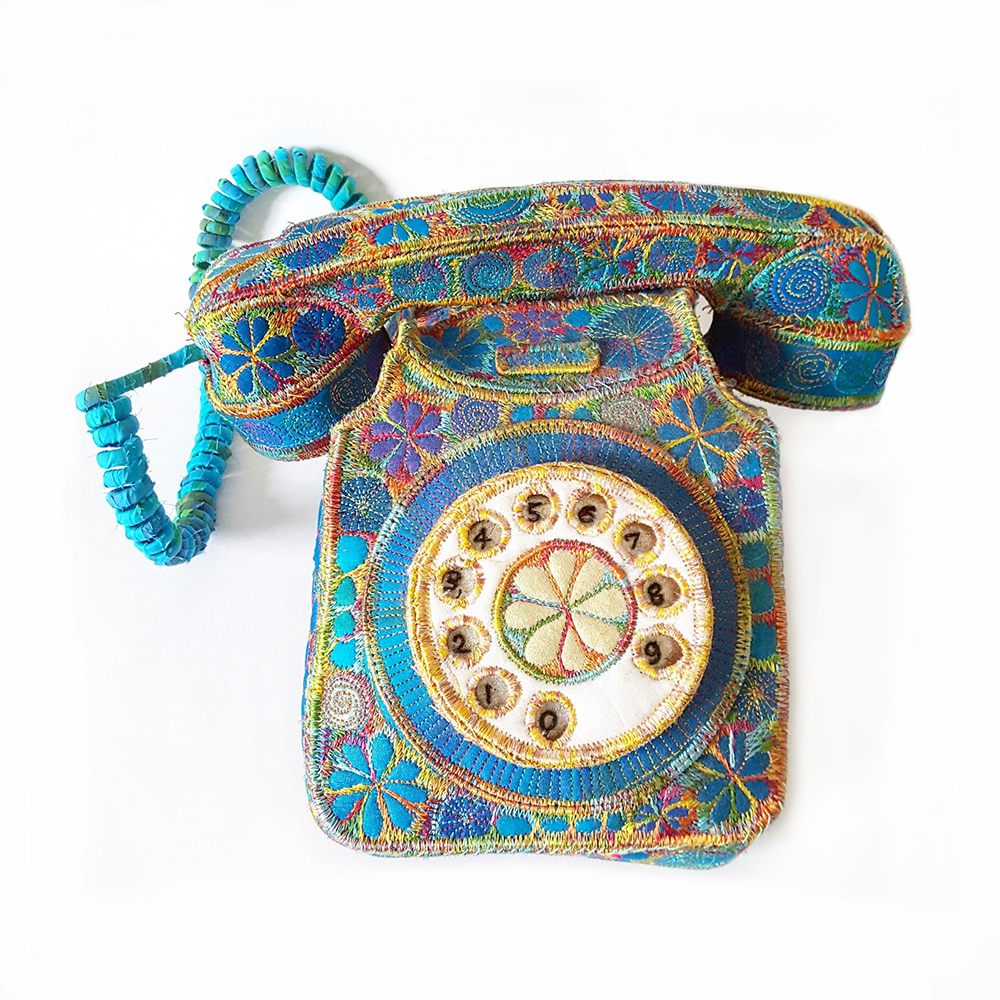 embroidered telephone Sue Trevor