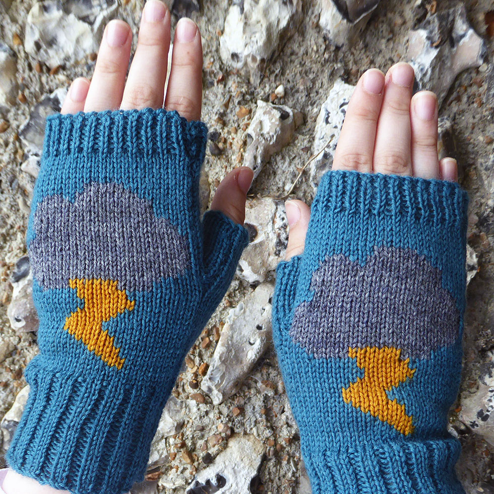 knitted fingerless thunder and lightning clouds gloves by Dreamtime Treasure