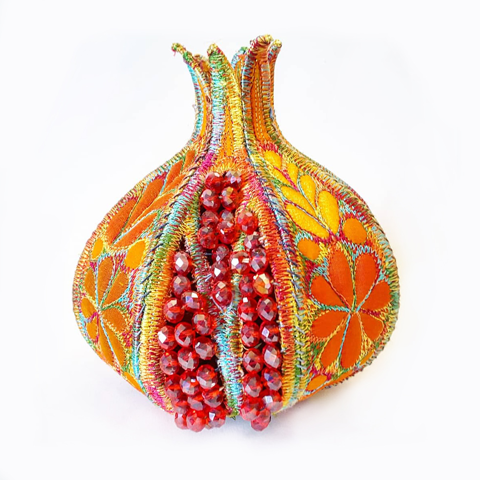 embroidered pomegranate Sue Trevor