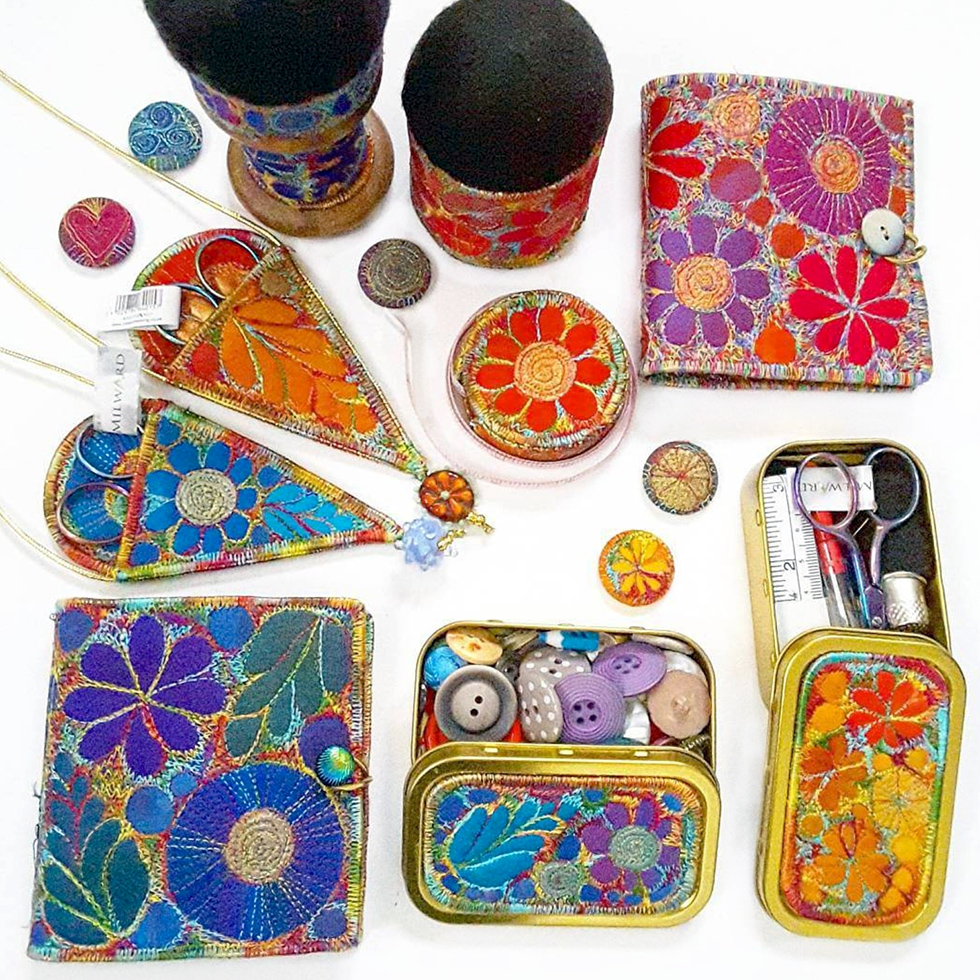 embroidered sewing kit Sue Trevor