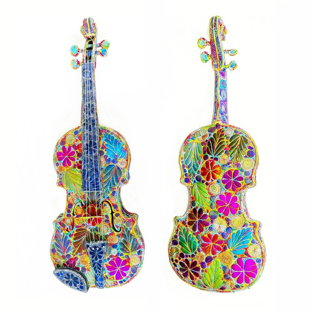 embroidered violins textile art sculpture by Sue Trevor