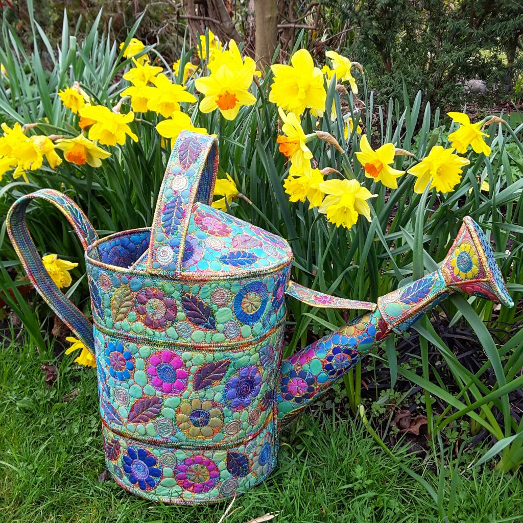 embroidered watering can Sue Trevor