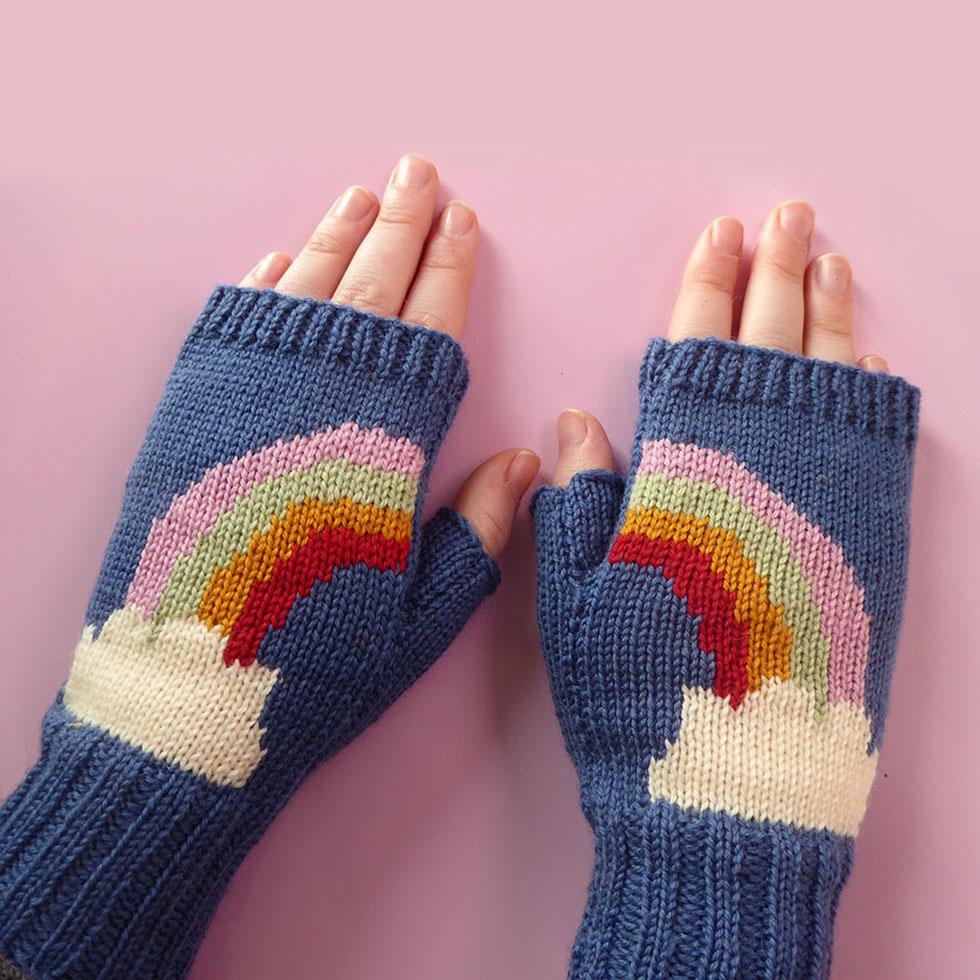 knitted fingerless gloves by Dreamtime Treasure