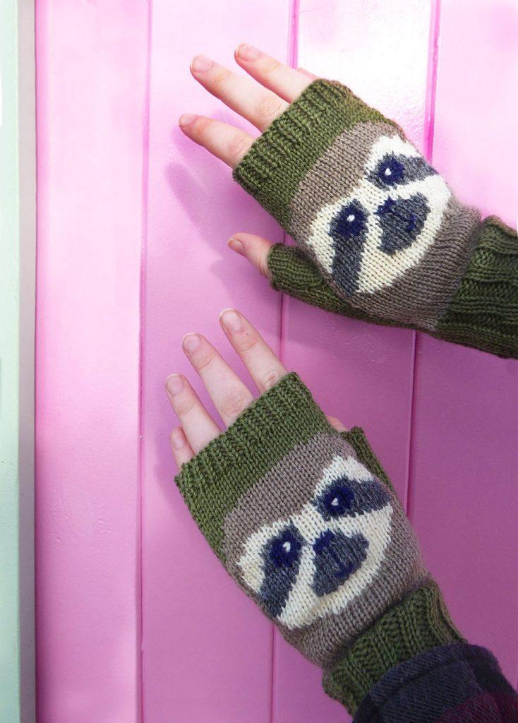 knitted fingerless sloth gloves by Dreamtime Treasure