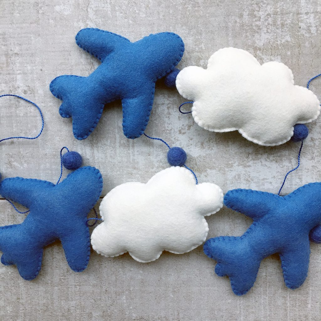 Plane and clouds garland by Georgie's Little Makes