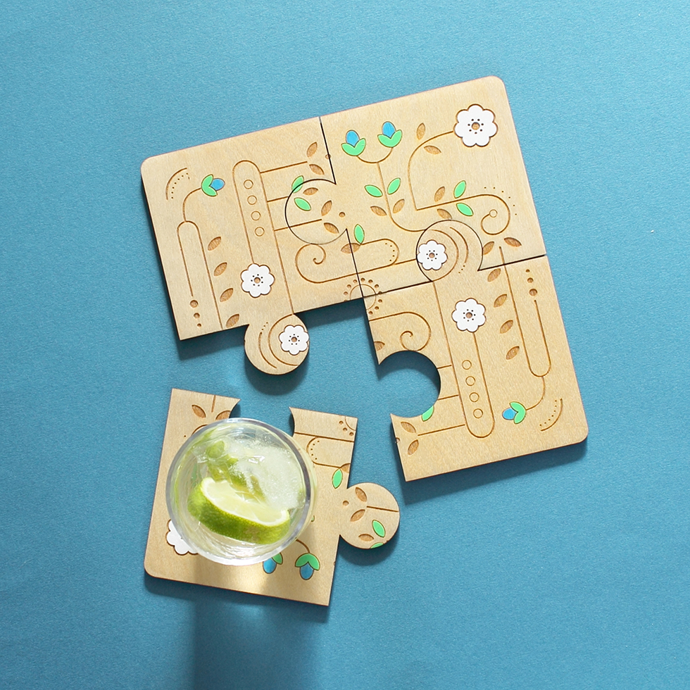 Jigsaw coaster set by Etchable