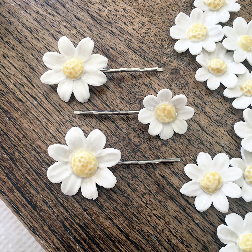 Porcelain Daisy Hair Clips by Shelly Lee