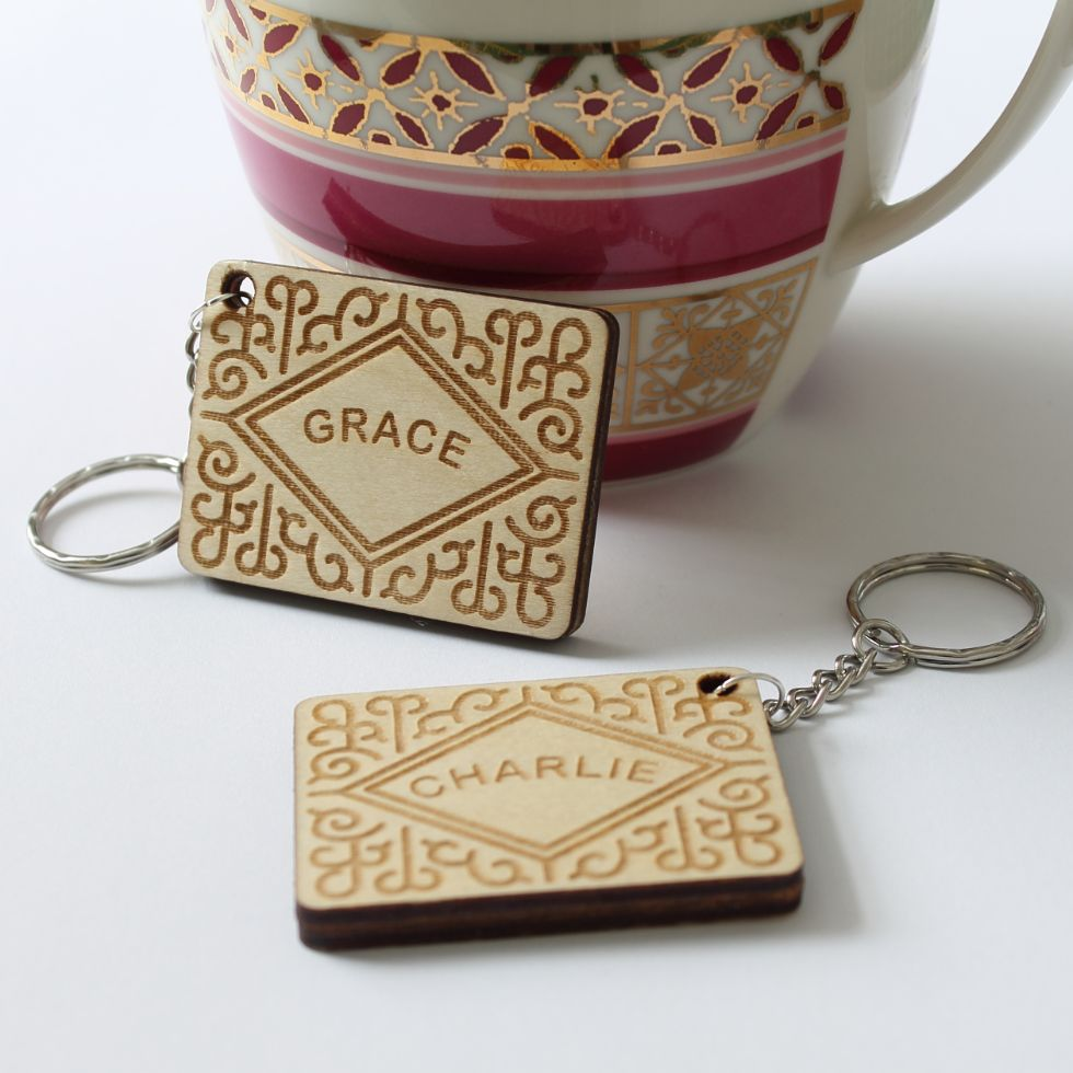 personalised custard cream keyrings by Etchable