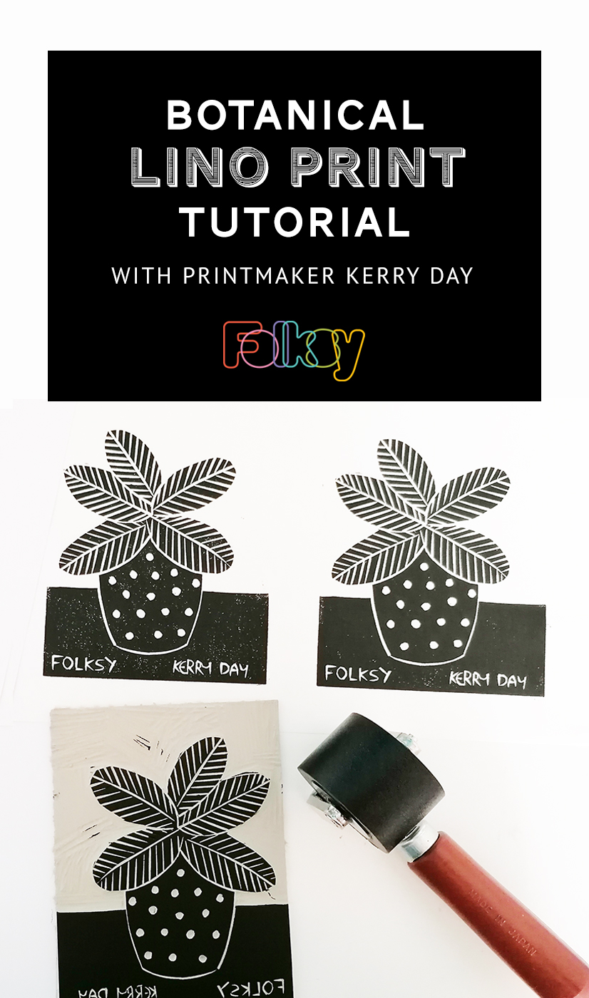 Botanical Lino Print Video tutorial with Kerry Day