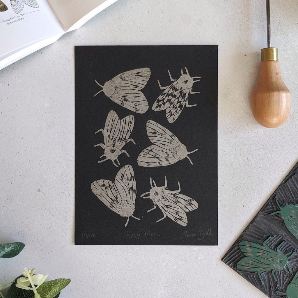 Rose and Hen linocut prints