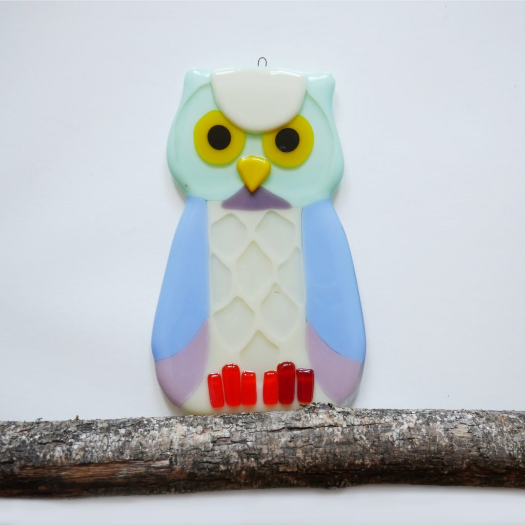 Fused Glass Owl Wall Decoration by Glass Robin Studio
