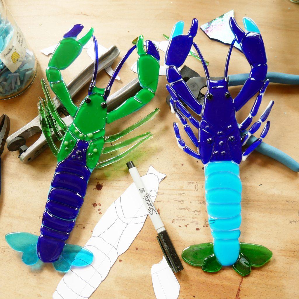 Glass Robin Studio glass lobster decorations