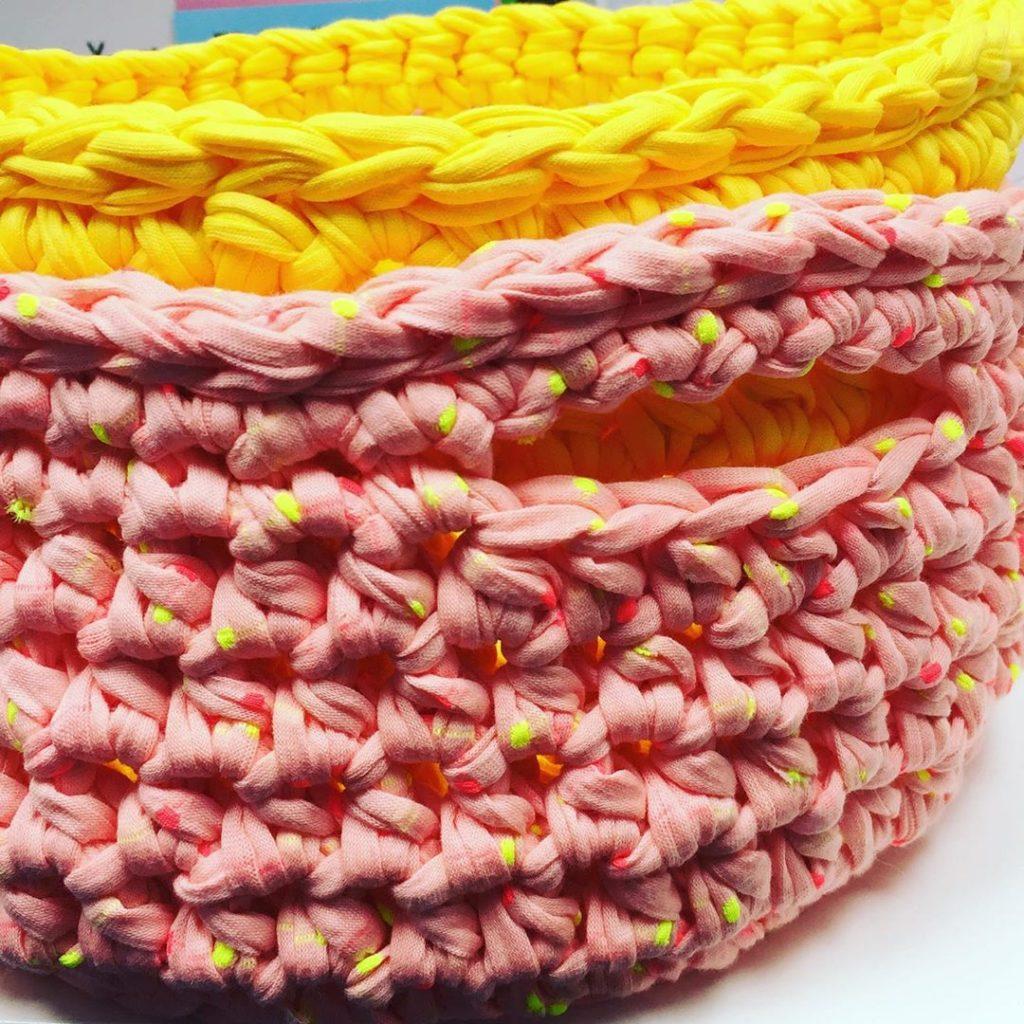 Clare Gets Crafty T-Shirt Yarn Crochet Baskets