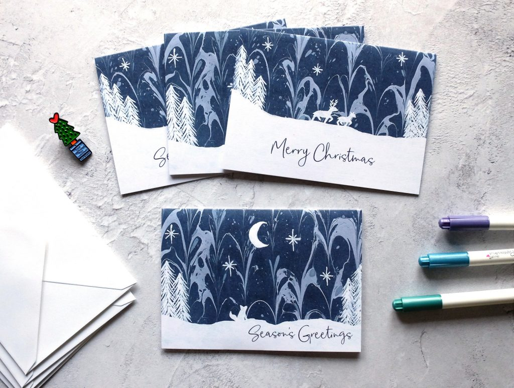 Marbled arctic christmas card set