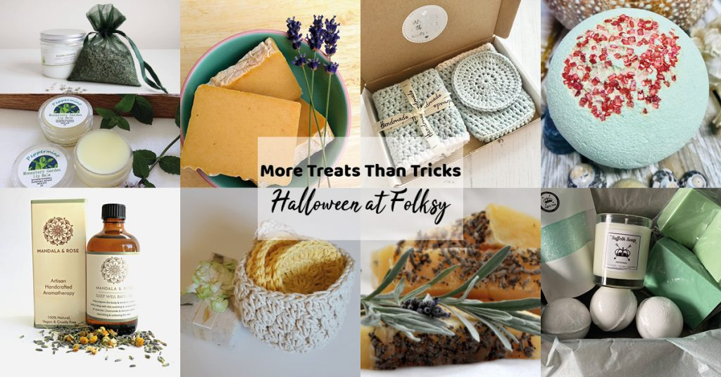 Pampering items on Folksy for treating yourself rather than having an tricks this autumn and halloween.