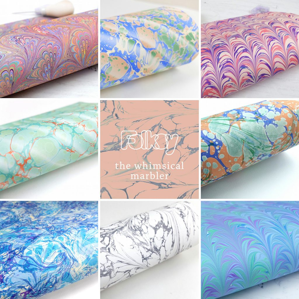 The whimsical marbler handmade marbled paper