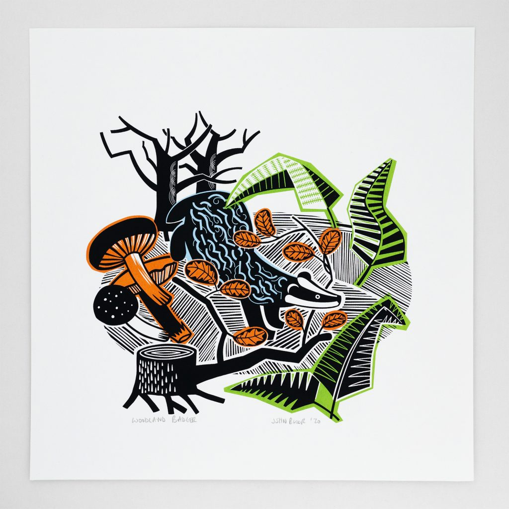 Woodland Badger Screen Print by John Bloor
