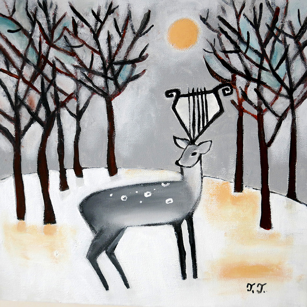 Winter Landscape Deer Painting by Teodora Paintings