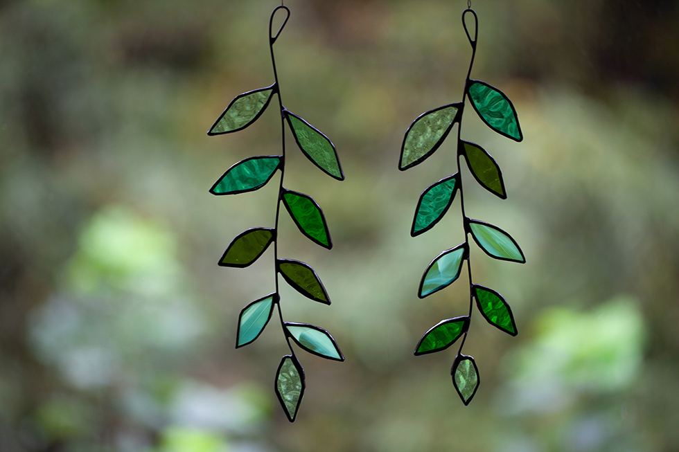 Stained Glass Leaf Suncatcher by Glass and Light Studio