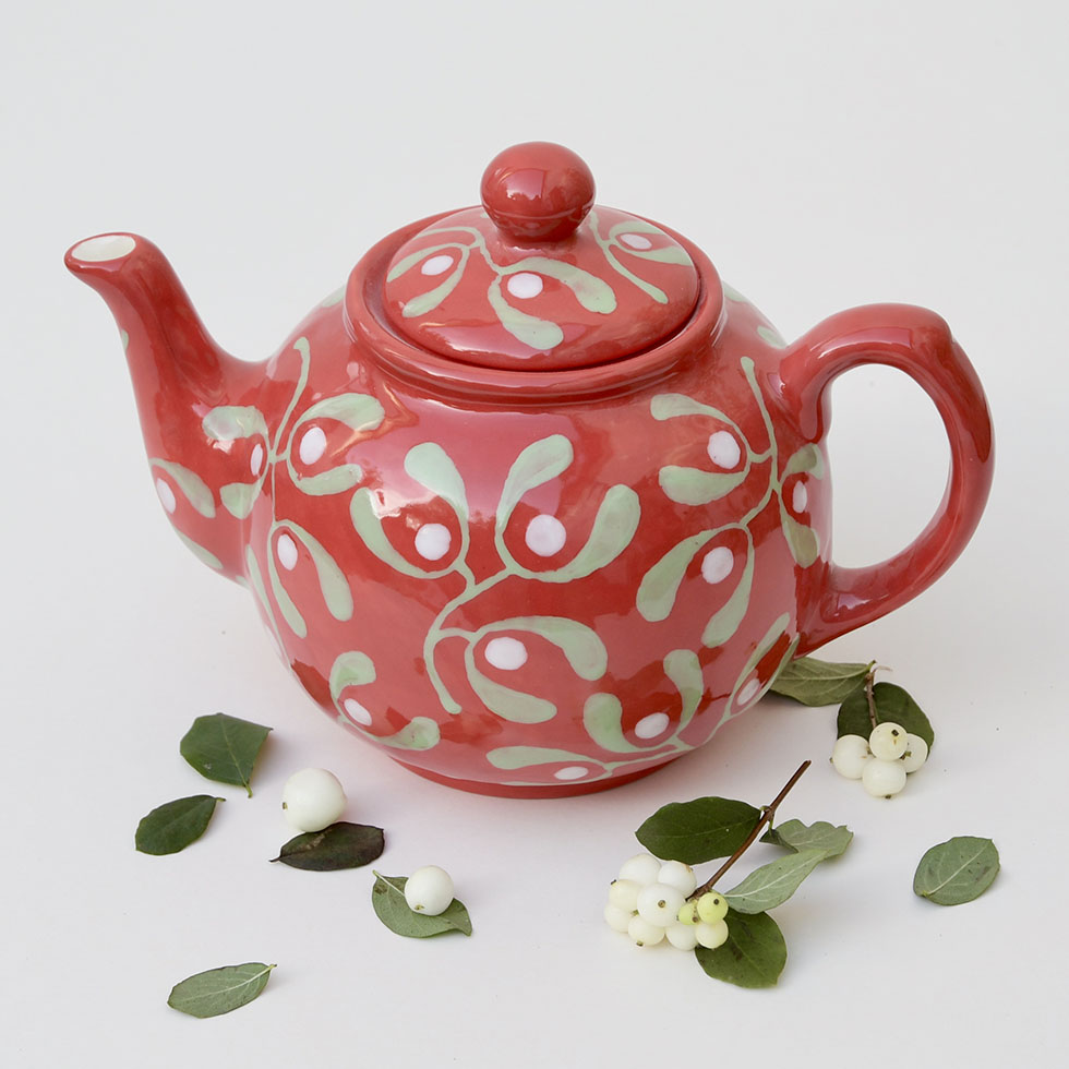 Christmas Red Mistletoe Teapot by Hannah Berridge Ceramics