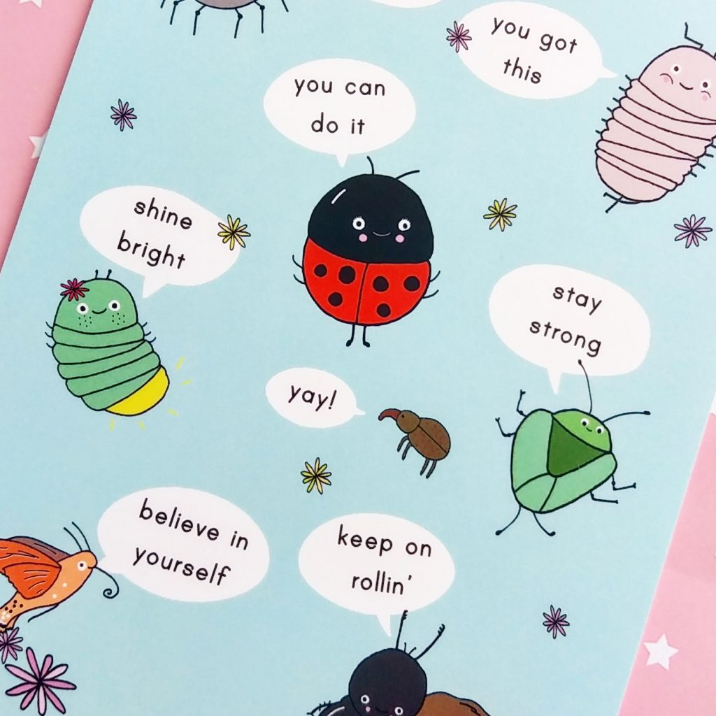 inspirational insects - motivational postcard