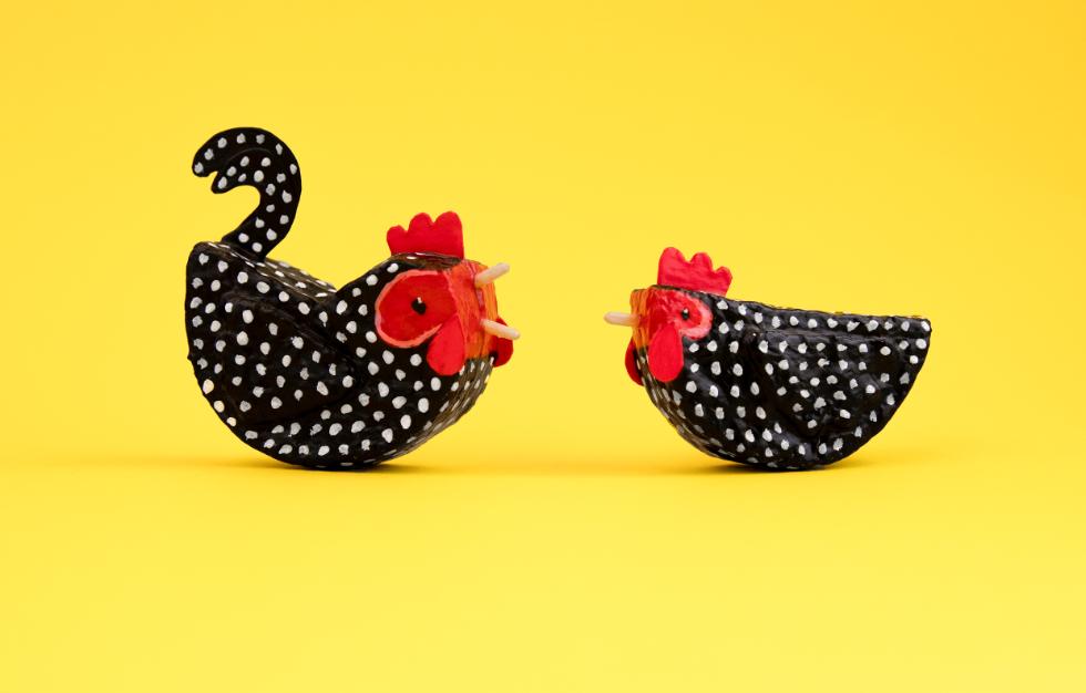 Annie Stothert paper mache chicken decorations