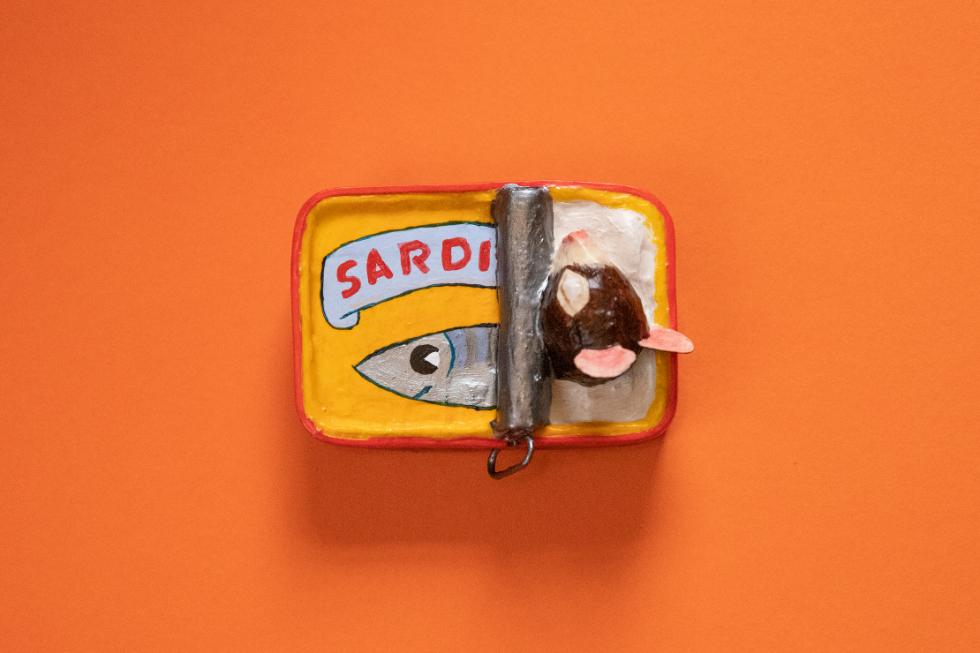 Annie Stothert paper mache mice in a sardine tin