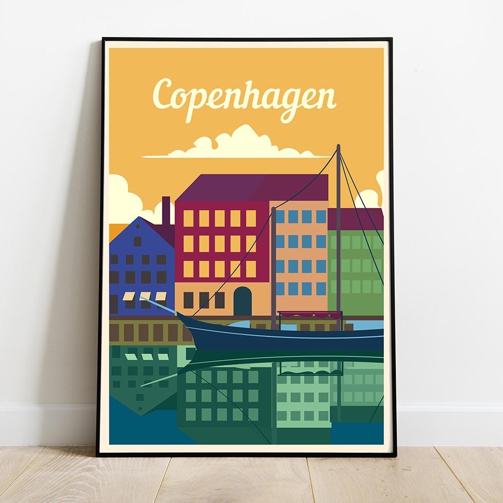 Travel posters Copenhagen retro print