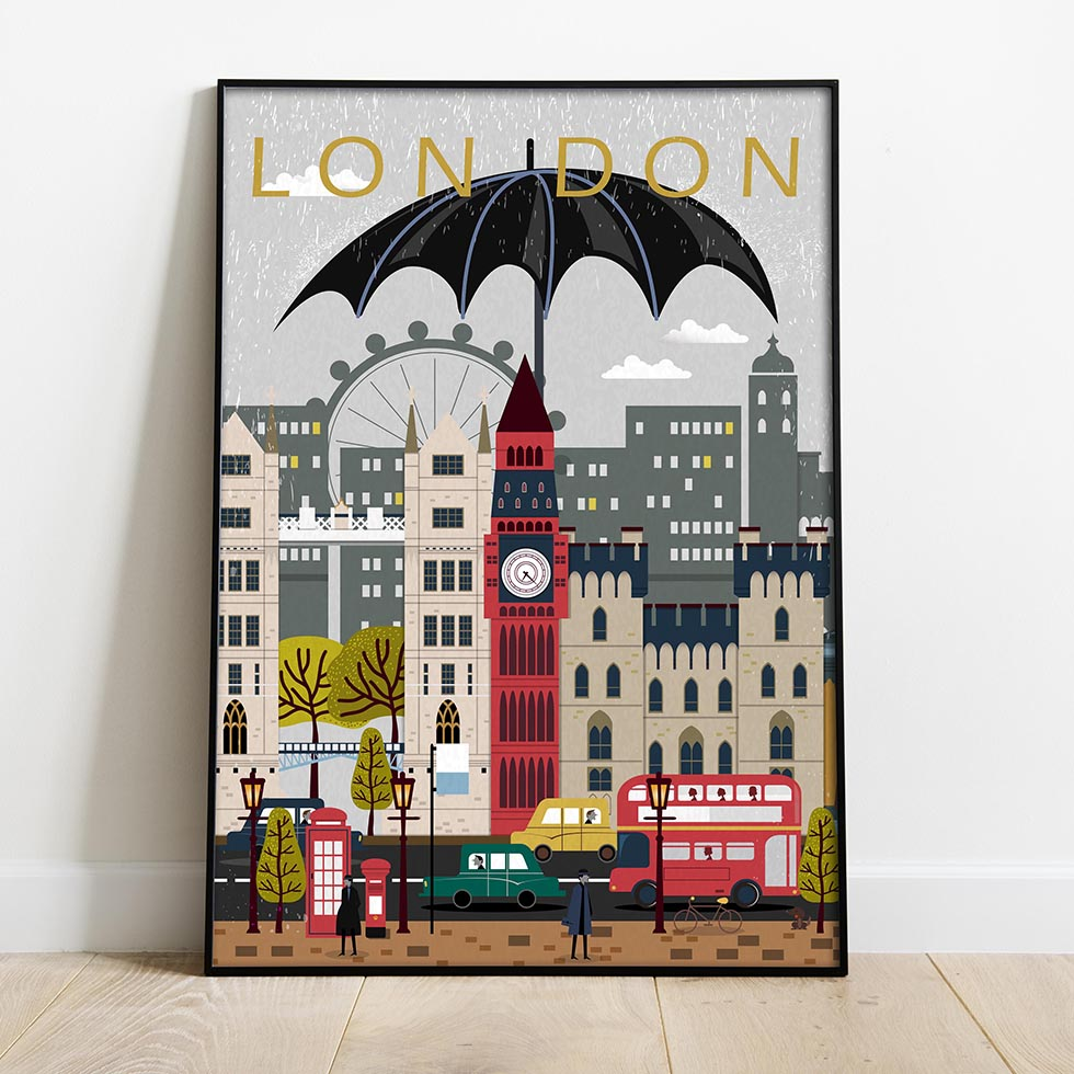 Travel posters London retro poster