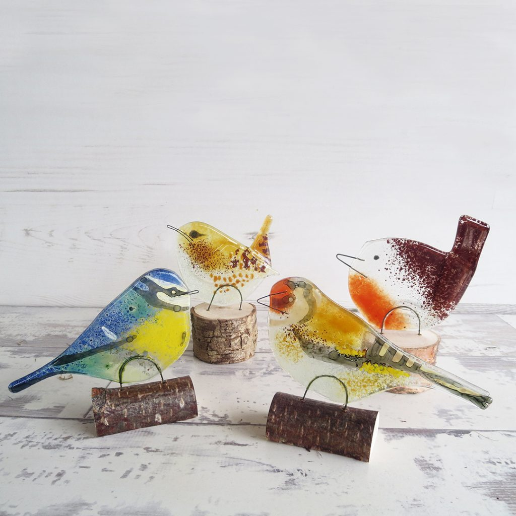 Ally Noble Fused Glass Garden Birds