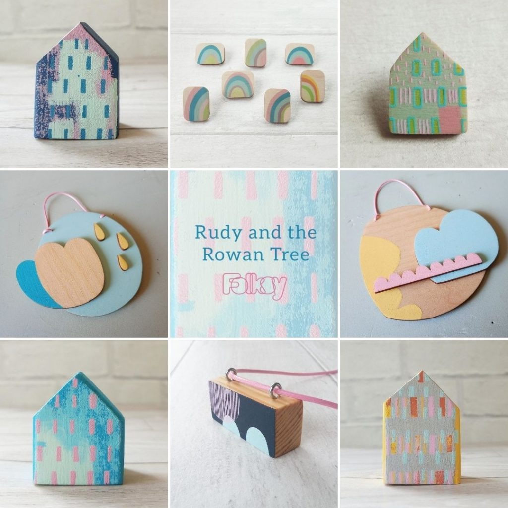 Rudy and the Rowan Tree little screenprinted houses