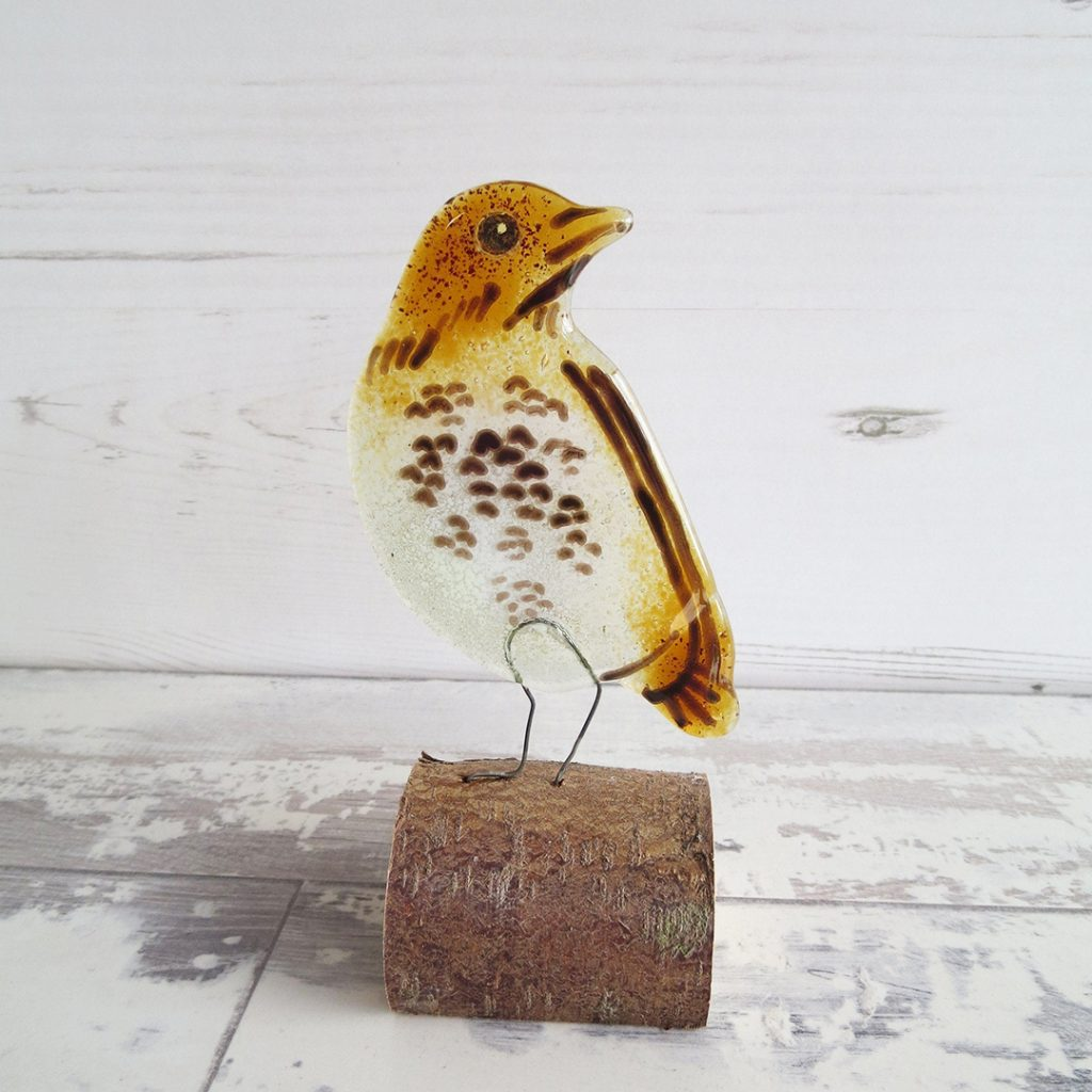 Song Thrush fused glass ally noble