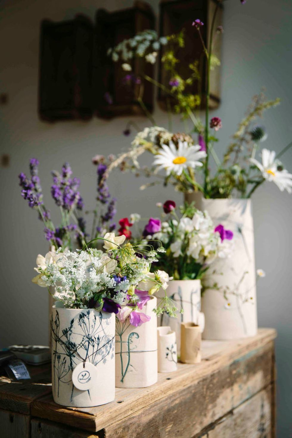 Floral display by Louise Condon, the Ceramic Botanist