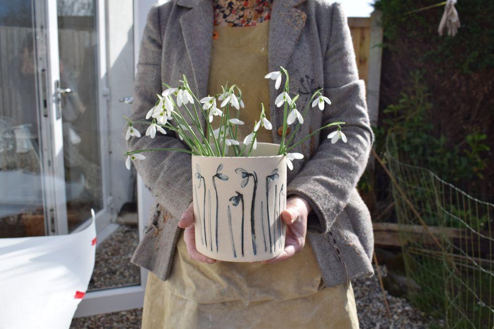 Snowdrop vase made by Louise Condon, Ceramic Botanist
