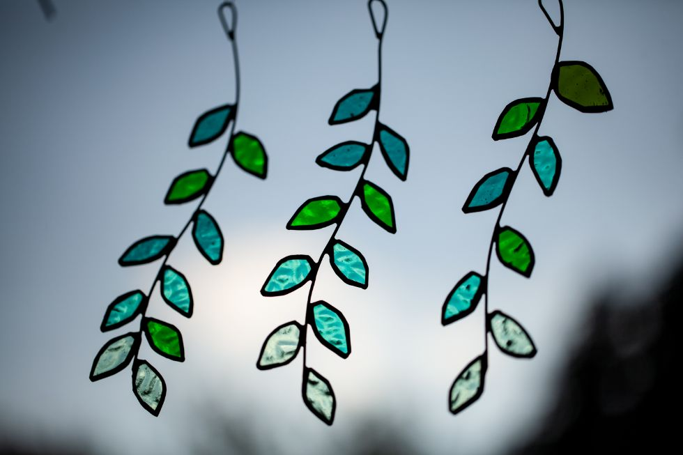 Leaf stained glass suncatchers