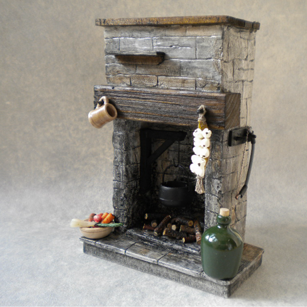 Handmade dolls house fireplace