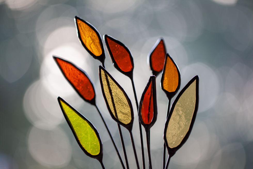 floral stained glass decoration