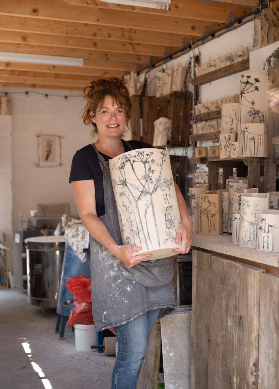 Louise Condon, Ceramic Botanist, in her pottery studio