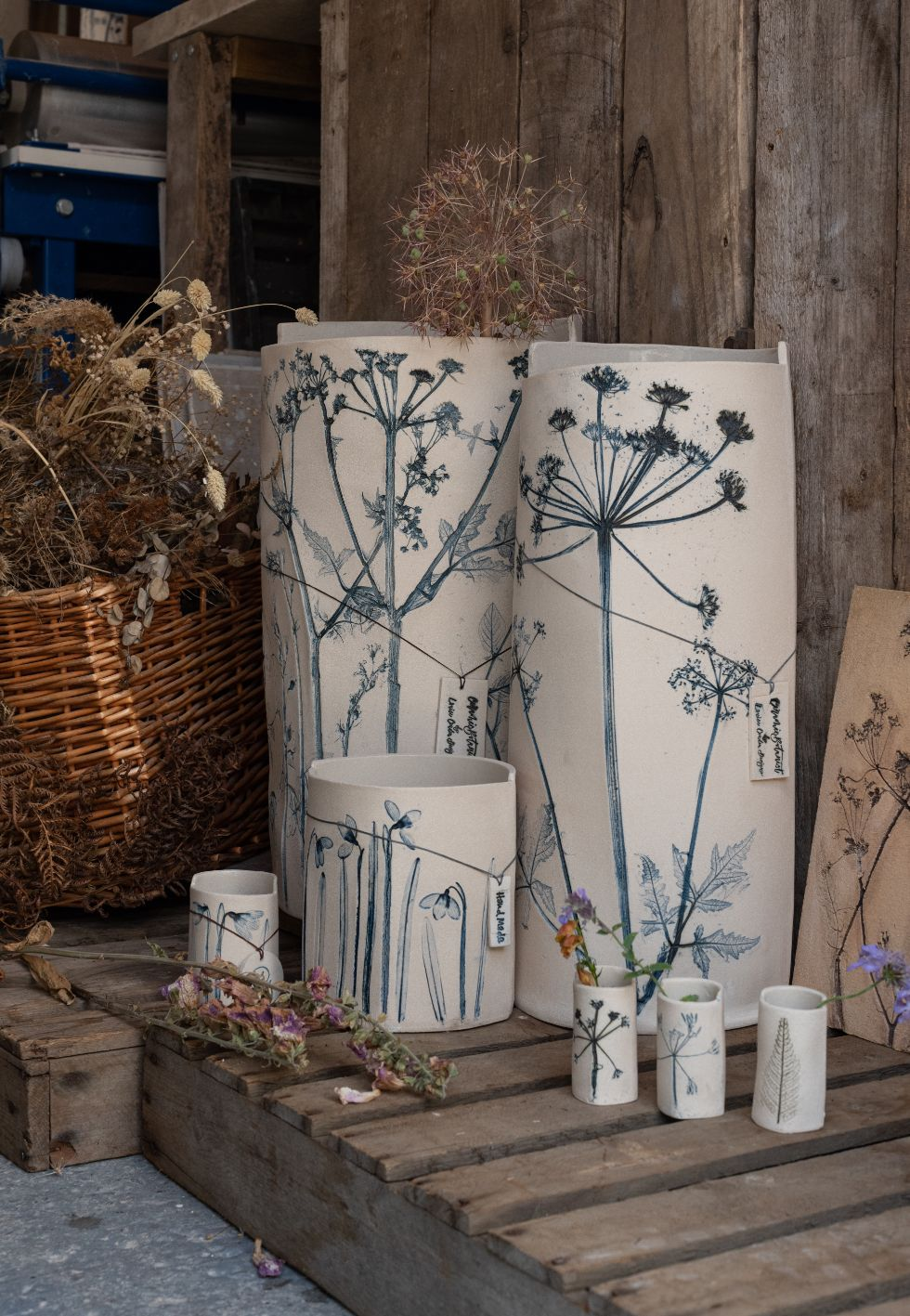 Tall ceramic vases made by Louise Condon